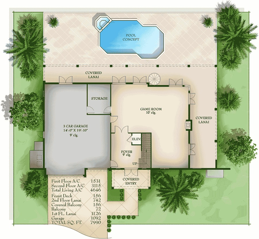 Plan 66342we 3 Bed Beauty With 2 Lanai: Lanai And Balcony Beauty - 65601BS