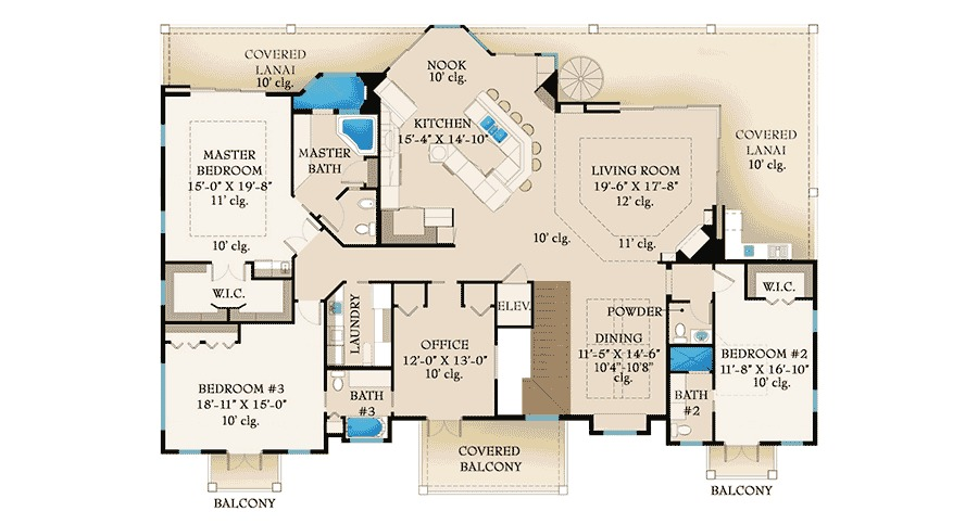 Lanai and balcony beauty 65601bs 2nd floor master for Florida house plans with lanai