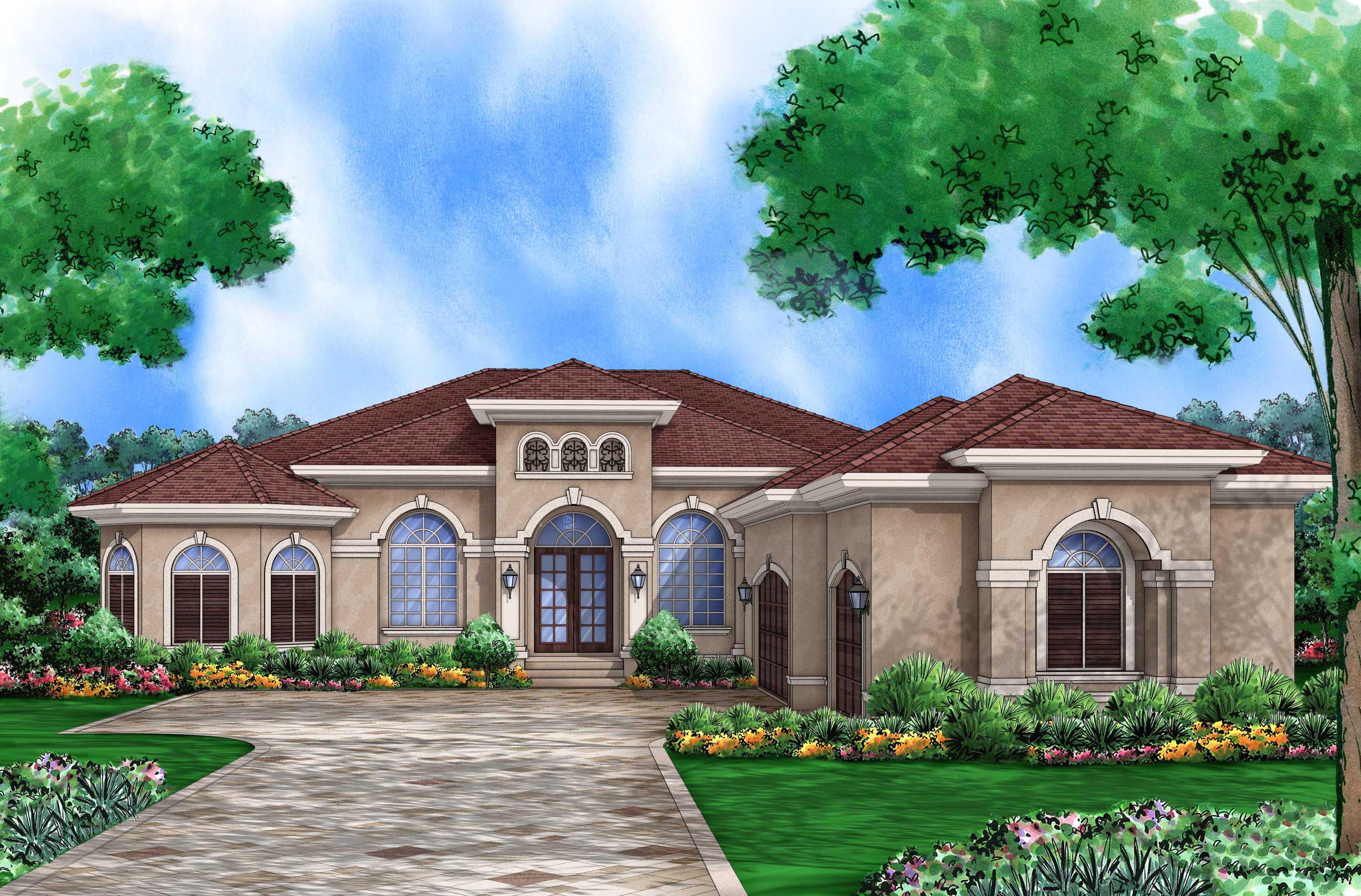 Stunning mediterranean home plan 65605bs 1st floor for Split mediterranean house