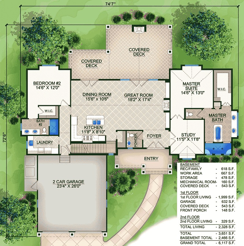 Plan 23663jd 6 Bedroom Beauty With Third Floor Game Room: Stunning Vaulted Home Plan - 65608BS