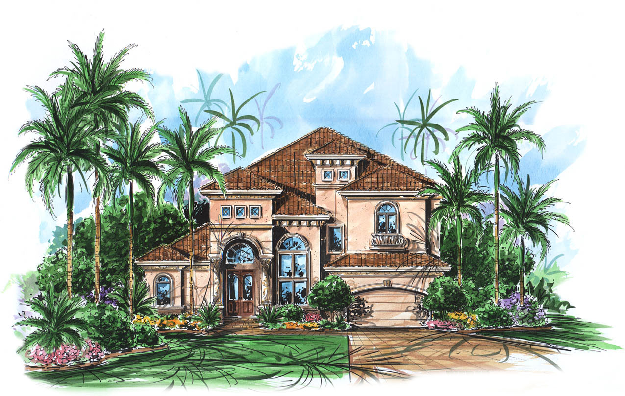 Two Story Mediterranean House Plan 66010WE Architectural
