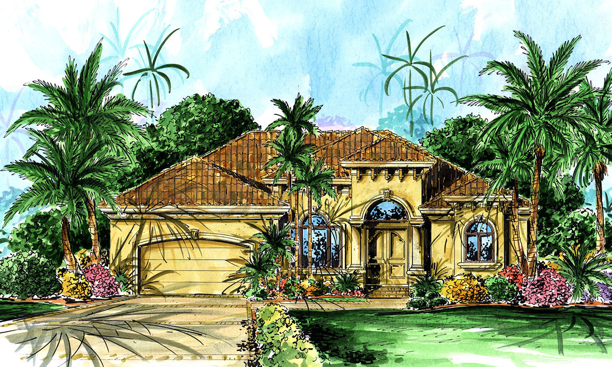 Spanish revival entry 66026we architectural designs for Spanish revival home plans