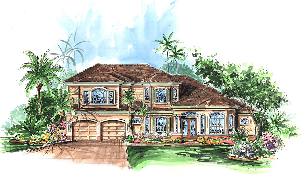 Five bedroom florida house plan 66042gw architectural for Florida house designs