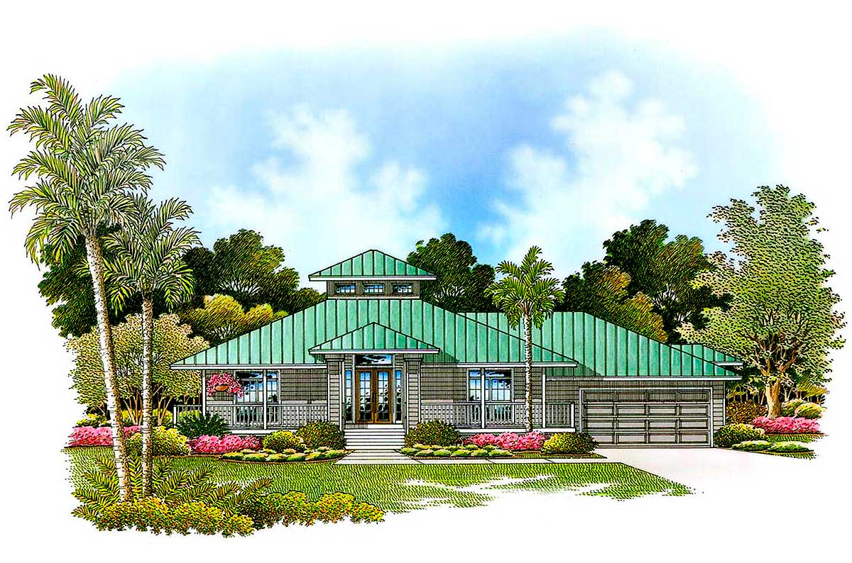Olde Florida Style - 66055GW | Architectural Designs - House Plans