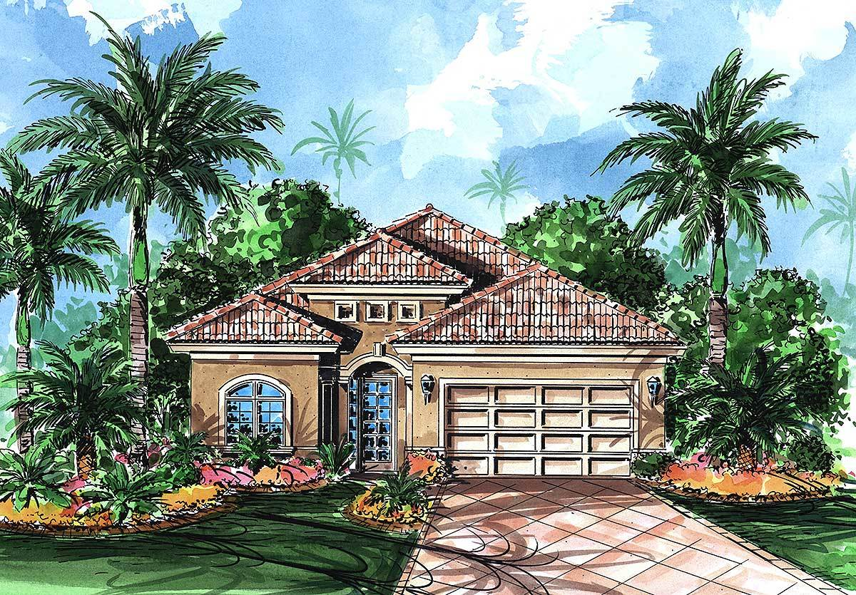 mediterranean bungalow plan 66058we architectural designs house plans. Black Bedroom Furniture Sets. Home Design Ideas