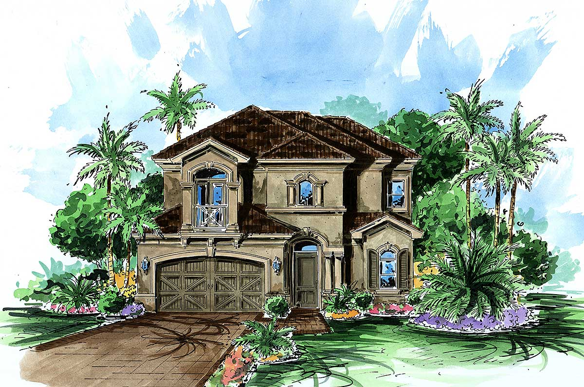 House Plan Small Home Design: Narrow Lot Mediterranean - 66086WE
