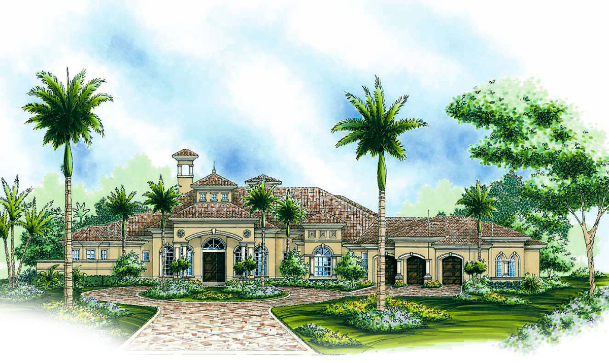 Gracious lanai and garage options 66114we florida for Florida house plans with lanai