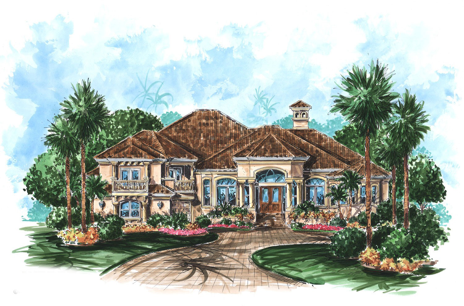 High end florida house plan 66119we 1st floor master for High end home plans