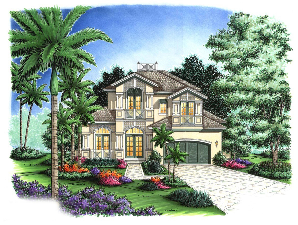 Beautifully balanced florida house plan 66127gw for Florida house plans