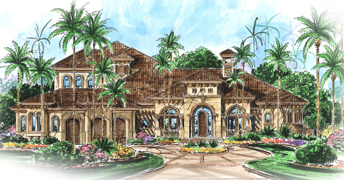 Massive lanai for outdoor entertaining 66128we for Large home plans for entertaining