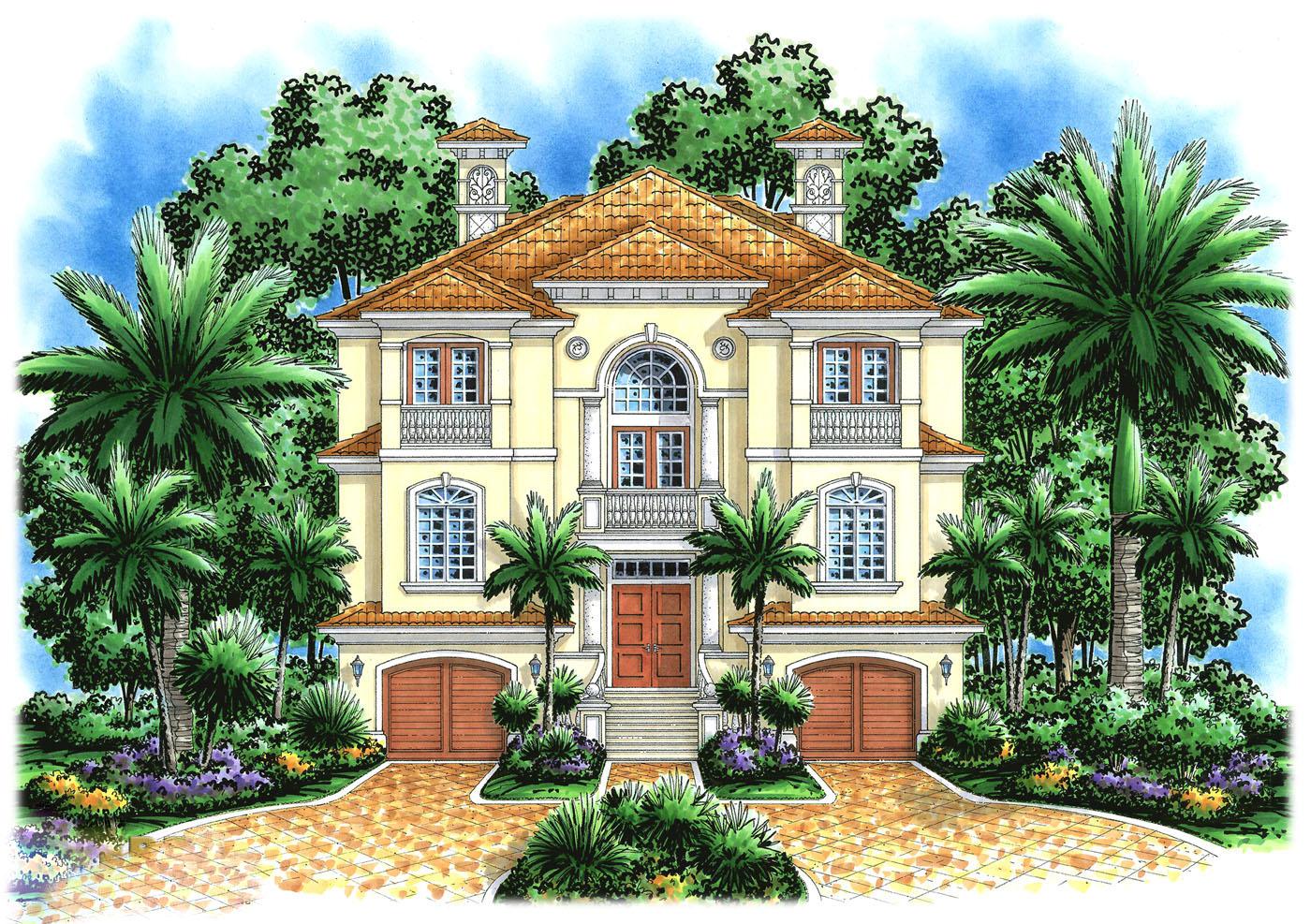 Mediterranean Home With Drive Under Garage 66193gw Architectural Designs House Plans