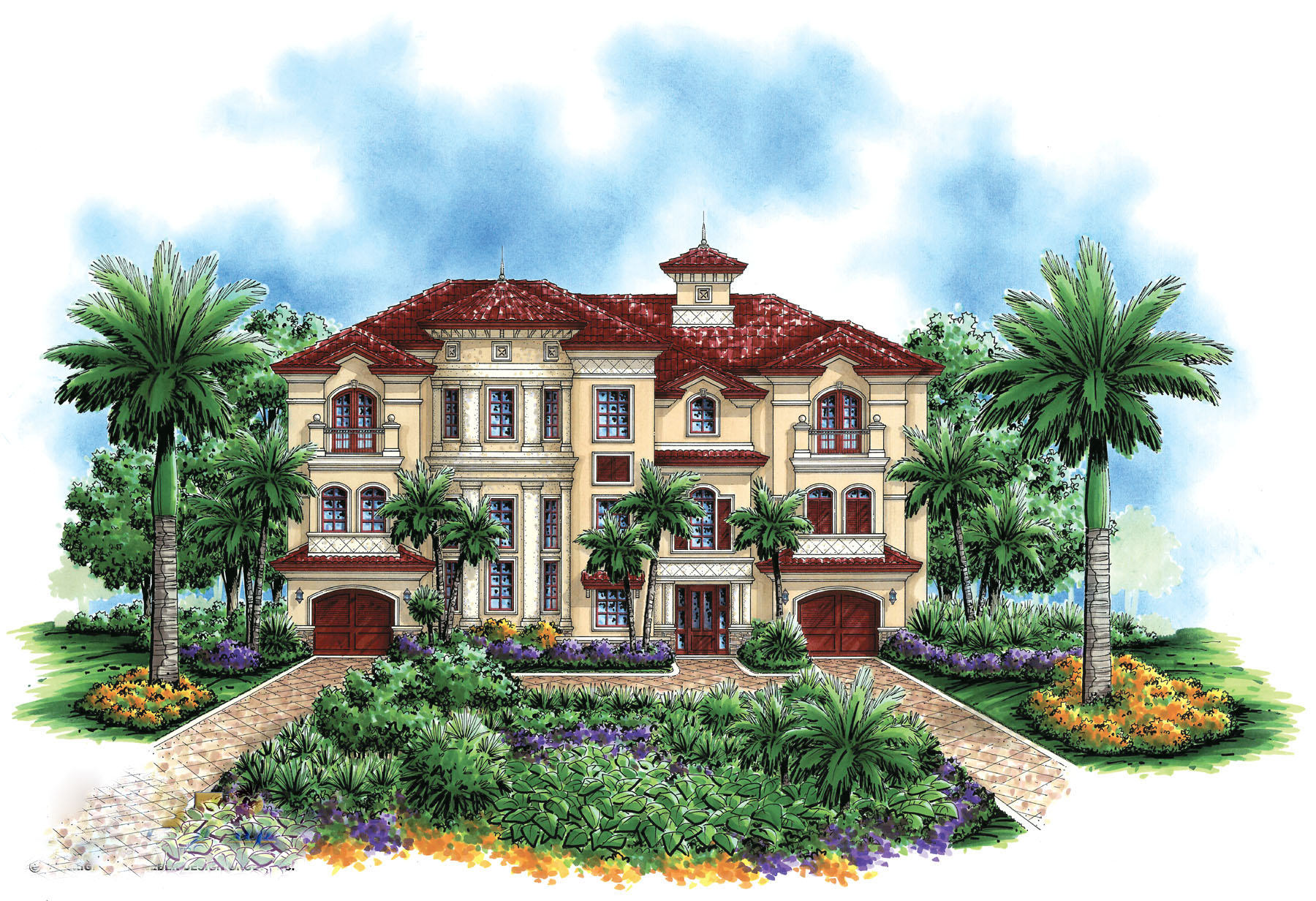 Grand radial staircase 66194we 1st floor master suite for Luxury mediterranean house plans