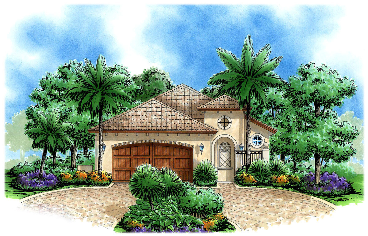 Narrow lot tuscan 66195gw architectural designs for House plans for wide but shallow lots