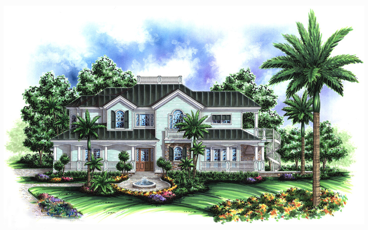 Old florida feel 66202we architectural designs house for Old florida house plans