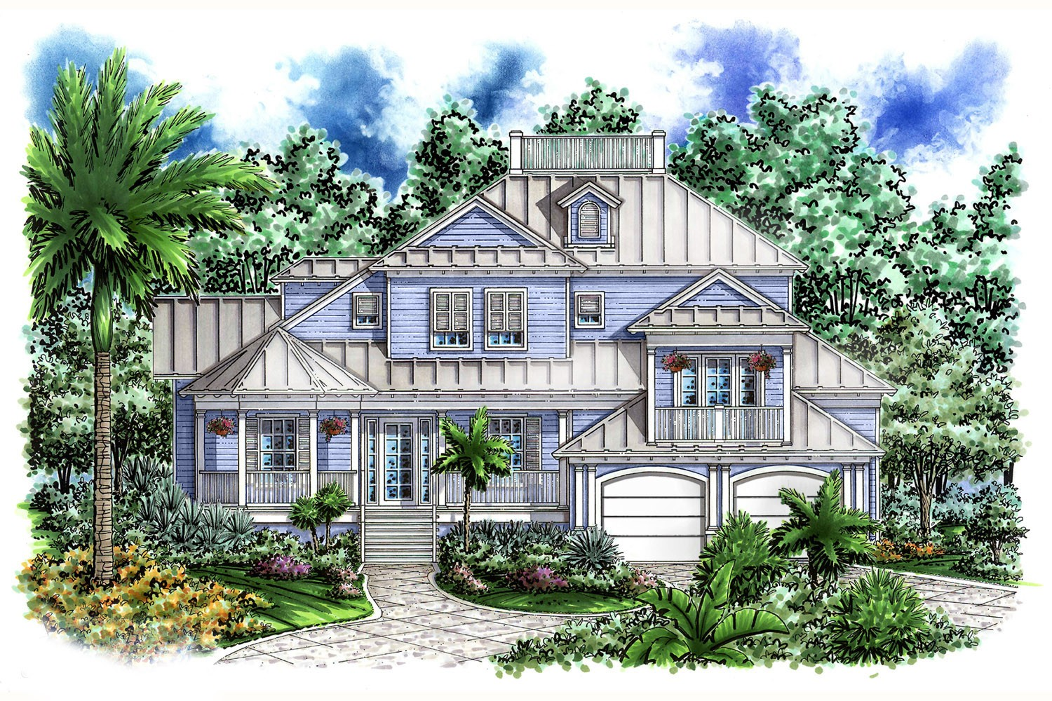 Unique old florida design 66204we 1st floor master for Oceanfront house plans