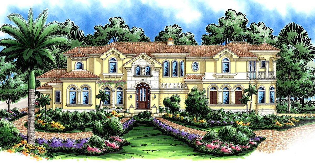 Two turrets 66218we architectural designs house plans for Home designs with turrets