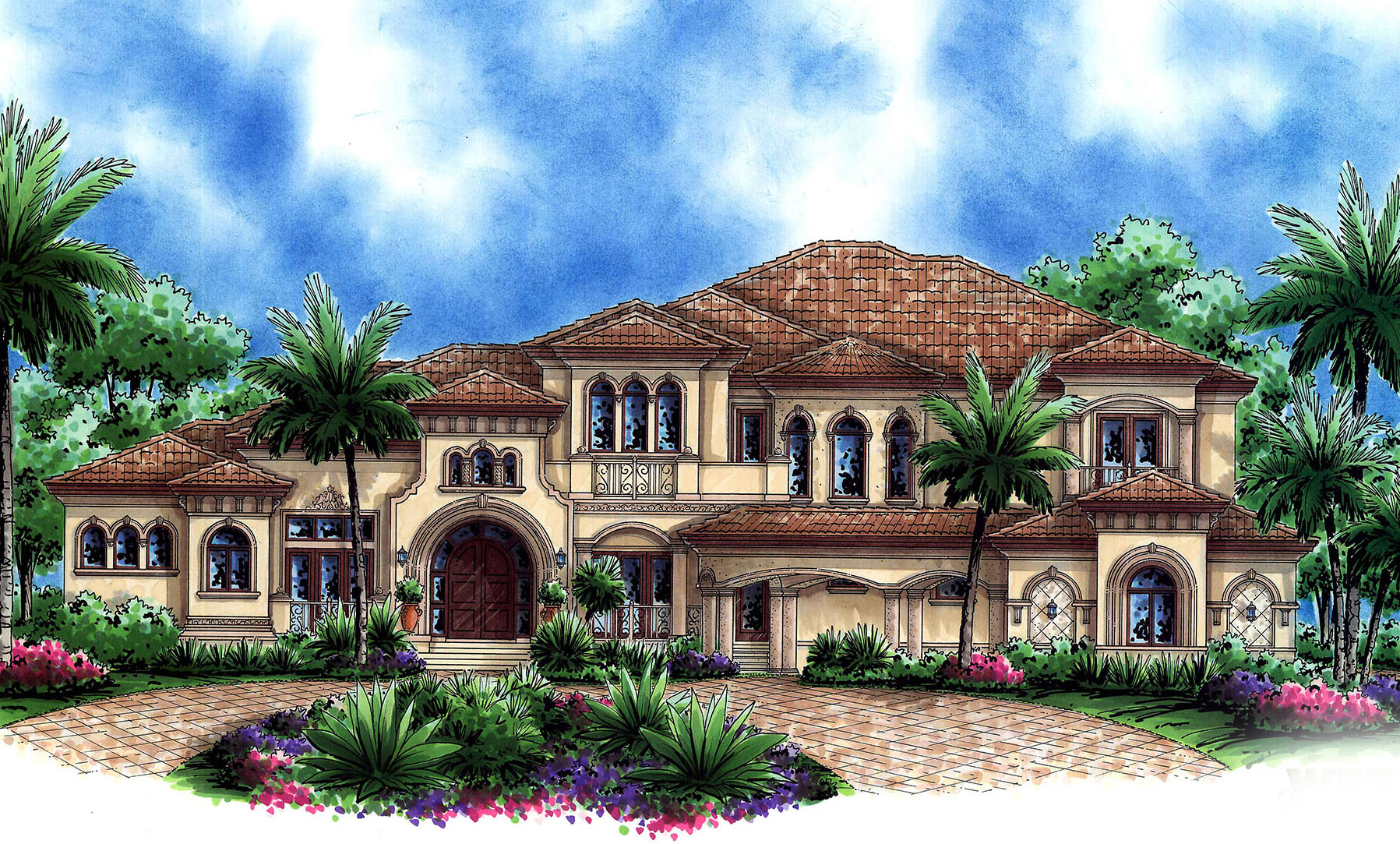 mediterranean house grand mediterranean house plan with home theater and sun decks 66234we architectural designs 8237