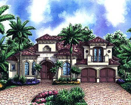 Mediterranean house plan with bonus space 66236we 1st for Split mediterranean house