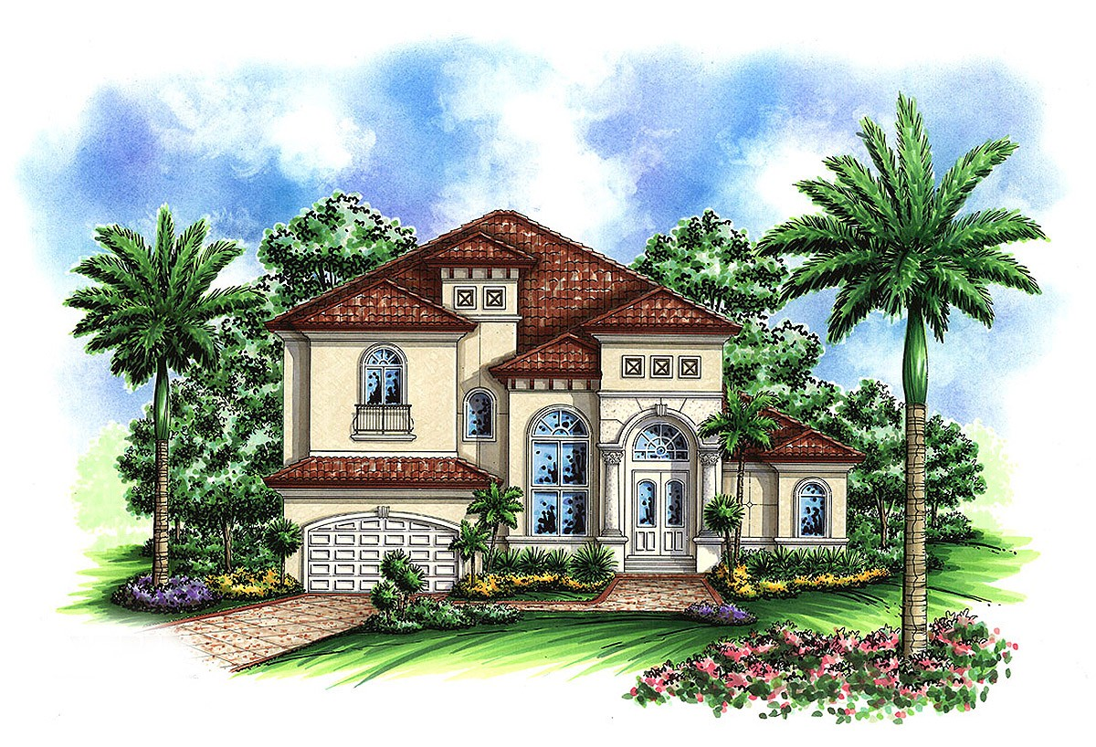 Two Story Mediterranean House Plan 66237WE Architectural