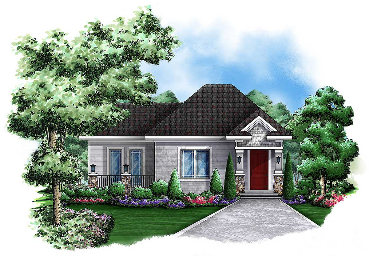 Quaint cottage guest house 66262we 1st floor master for Guest home plans