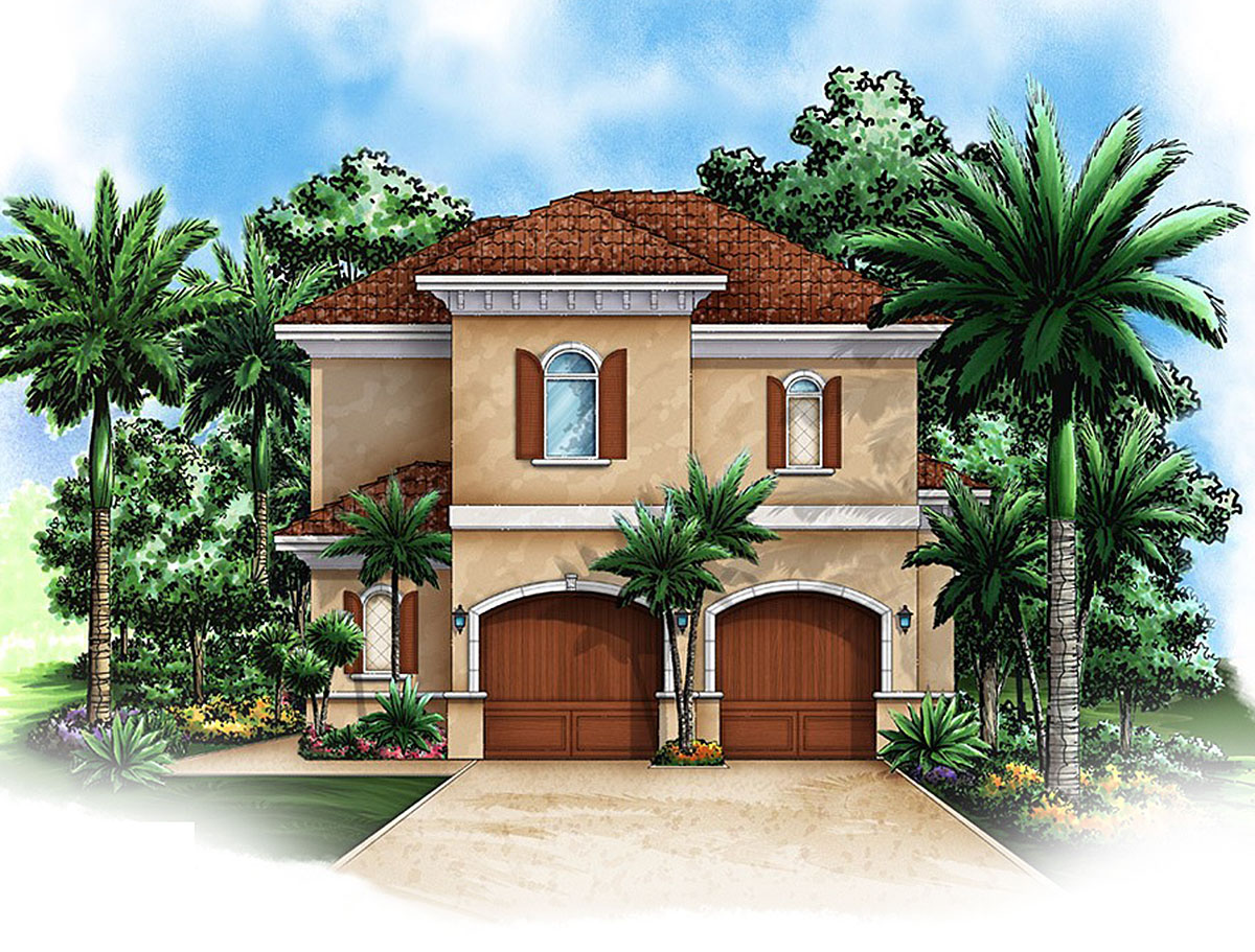 Architectural Design Home Floor Plans: Mediterranean Carriage House Plan