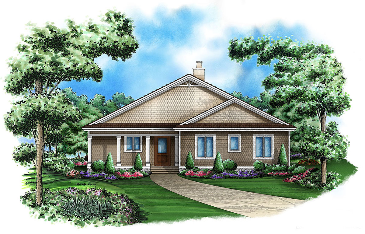 Cedar shake cottage 66266we 1st floor master suite for Cedar shake home plans