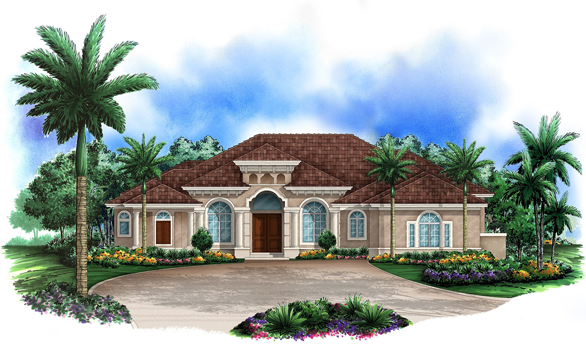 Mediterranean dream 66271we architectural designs - Mediterranean house floor plan and design ...