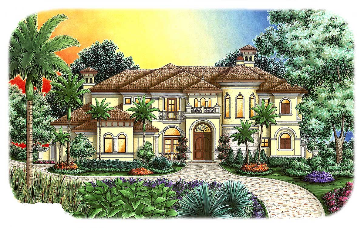 Stunning tuscan house plan 66276we architectural for Tuscan house plans