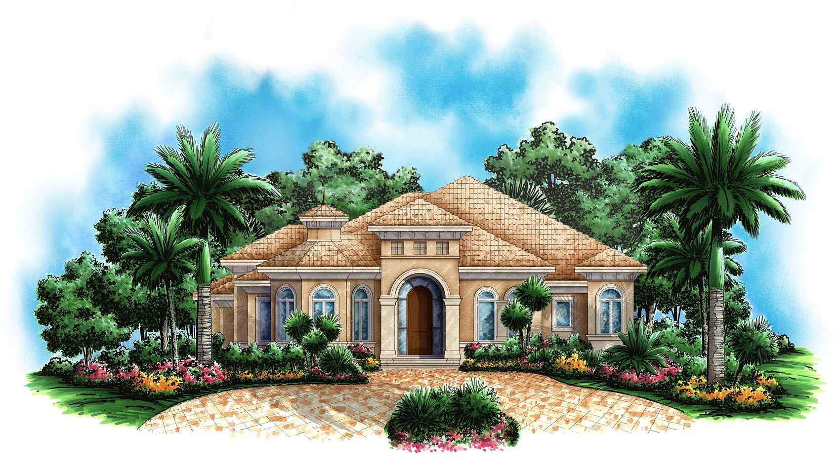 Great for a corner lot 66282we 1st floor master suite for Mediterranean house designs and floor plans