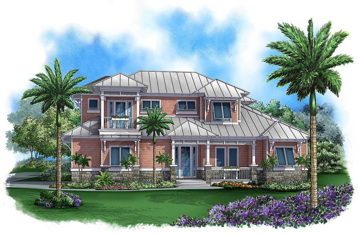 Covered lanai with fireplace 66288we 1st floor master for Two story florida house plans