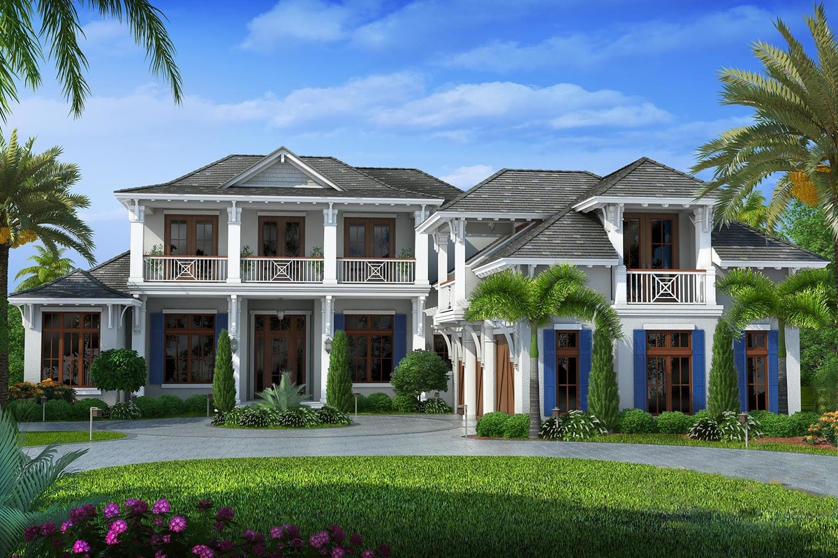 Upscale florida home plan 66327we architectural for Florida home designs