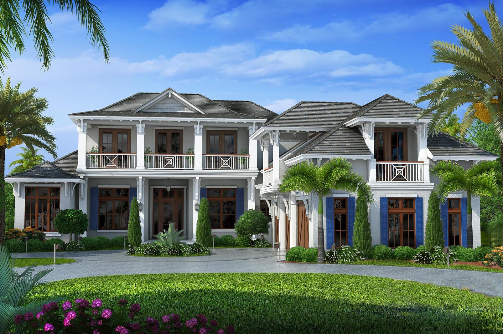 Upscale florida home plan 66327we 1st floor master for Florida cottage plans