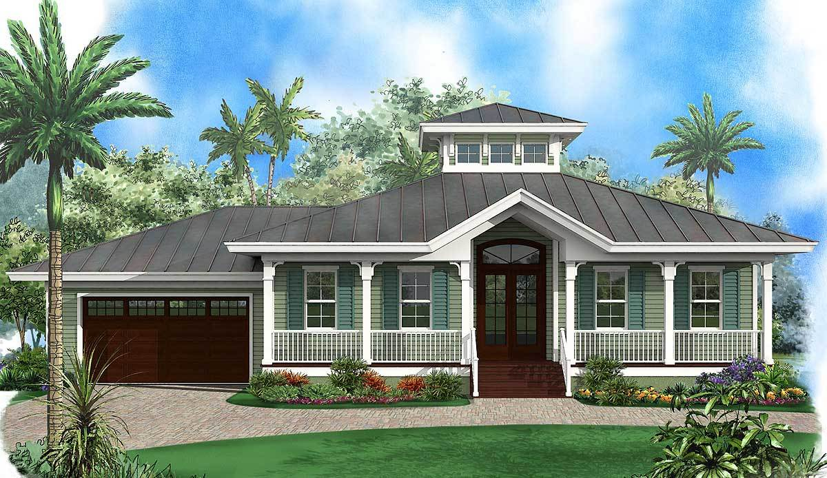 Florida beach house with cupola 66333we architectural for Two story florida house plans