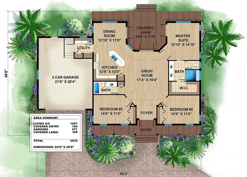 Florida Beach House with Cupola 66333WE Architectural Designs