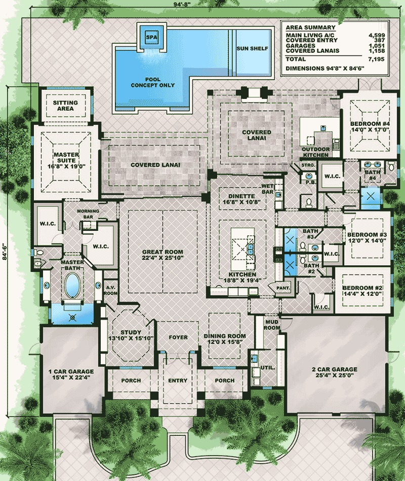 Architectural designs for Florida luxury home plans