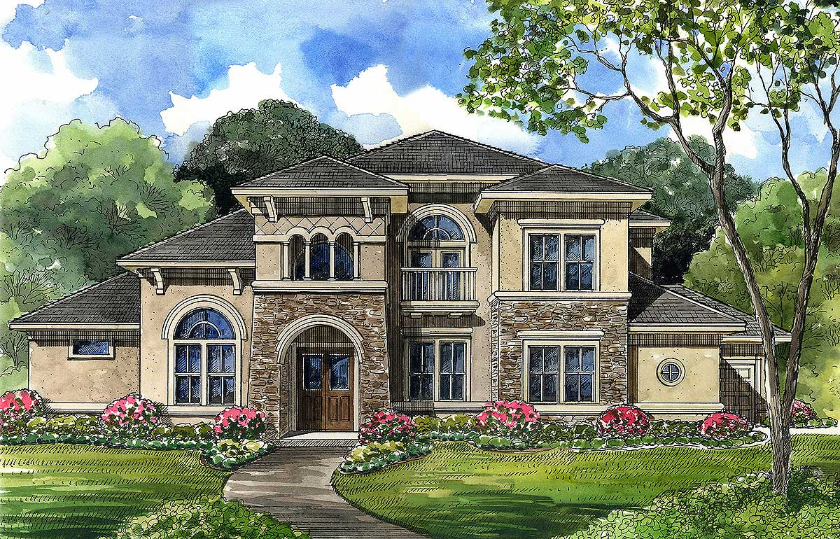 Luxury home plan with central spiral stair 67073gl for Curved staircase house plans