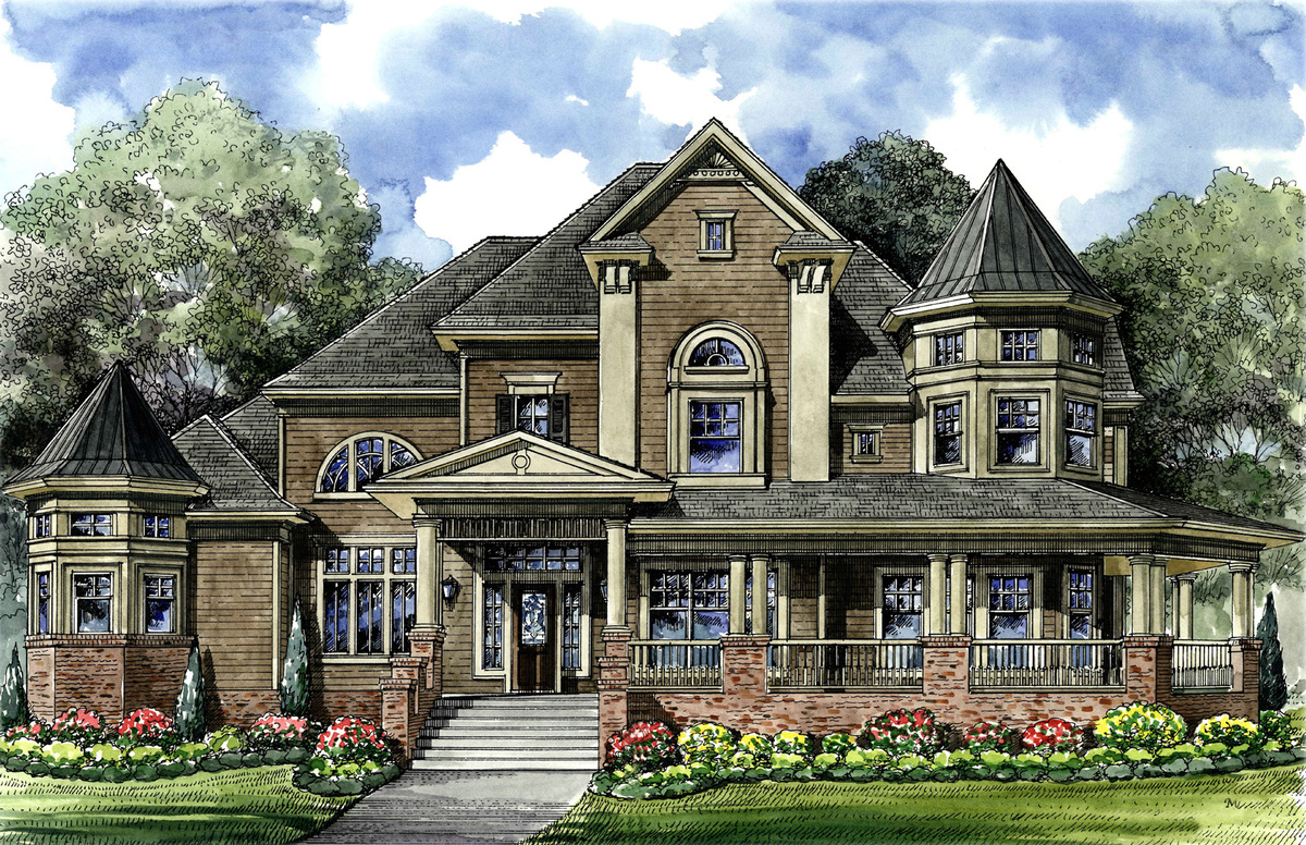 Victorian with 3 car detached garage 67088gl for Victorian garage plans