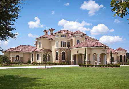 Tuscan treasure with two rotundas 67124gl 1st floor for Luxury tuscan house plans