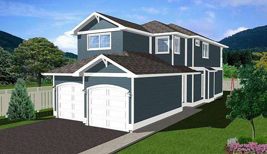 Narrow lot home plan with side entry 6741mg 2nd floor for Narrow house plans with front garage