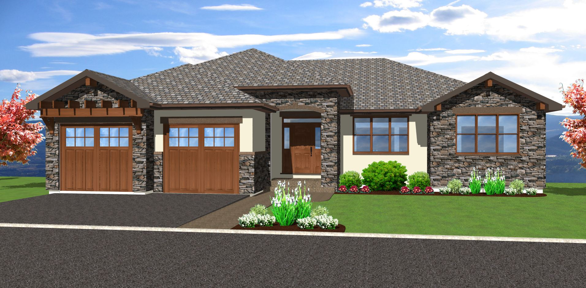 Spacious hillside home with walkout basement 67702mg for Modern ranch plans
