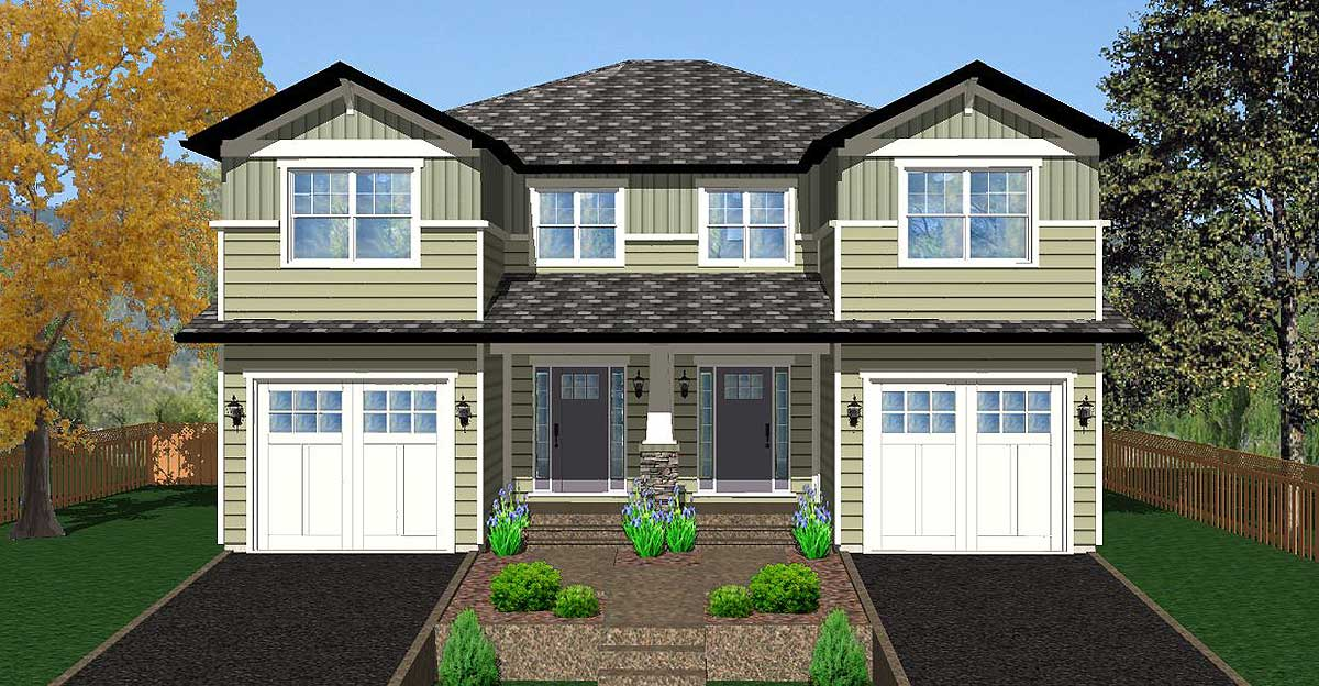 Side by side craftsman duplex house plan 67717mg 2nd for Architectural designs com