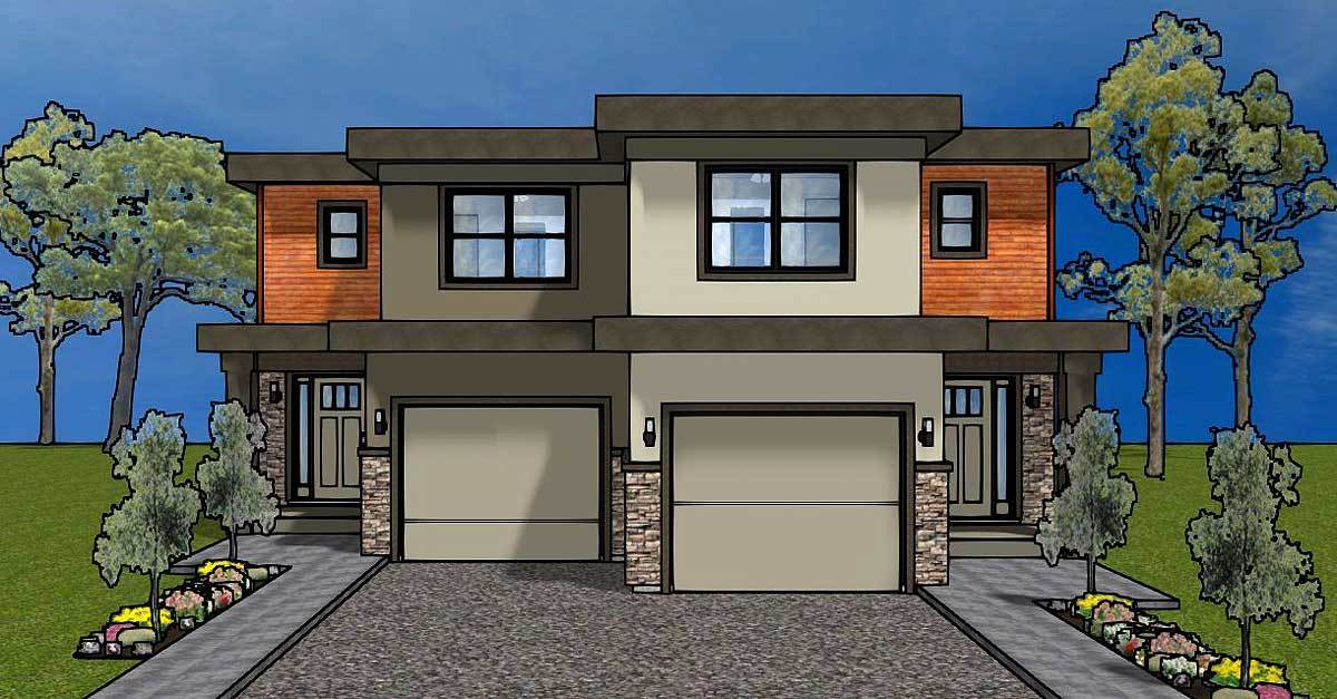 Duplex house plan for the small narrow lot 67718mg for 3 bedroom duplex plans for narrow lots