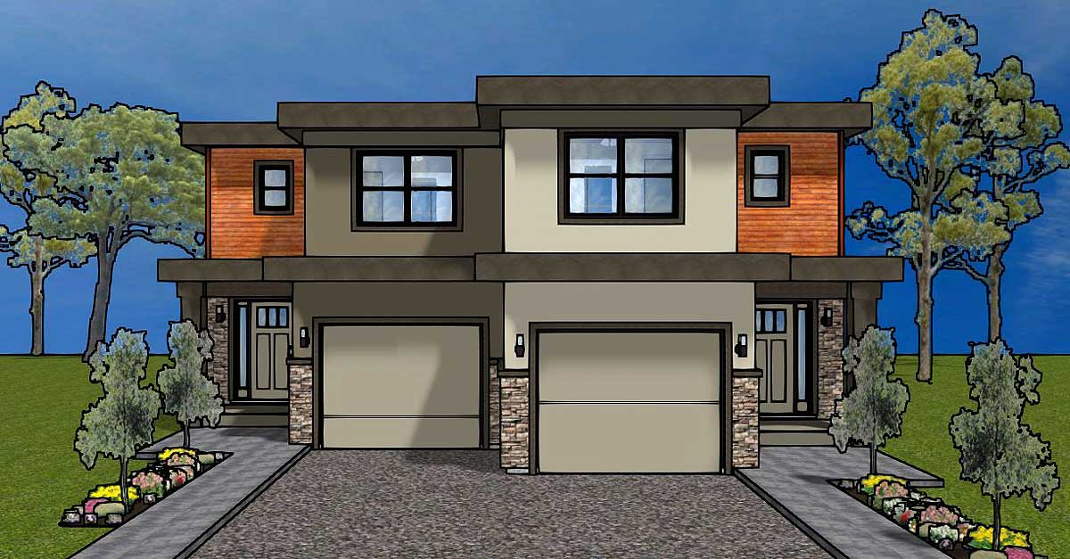 Duplex house plan for the small narrow lot 67718mg 2nd for Multi family plans for narrow lots