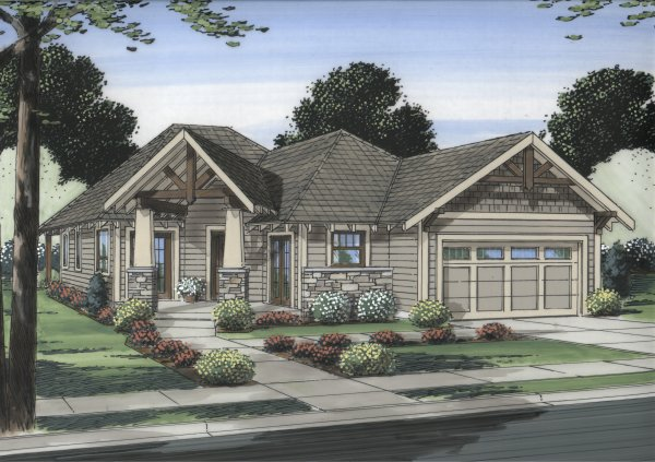 Angled entry porch 6773mg northwest ranch canadian for Angled entry house plans