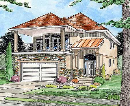 Front facing balcony 6790mg architectural designs for 2nd floor house front design