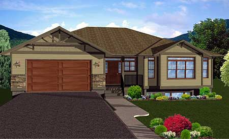 Craftsman ranch home plan with finished basement 6791mg for House plans with finished photos