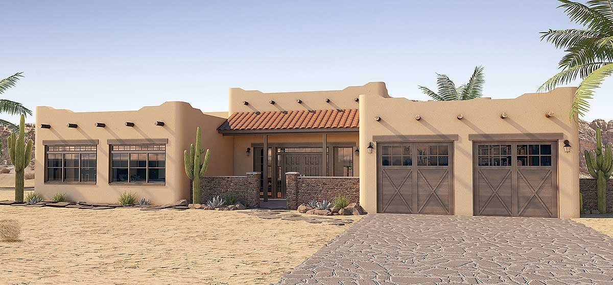 adobe style house plan with icf walls 6793mg