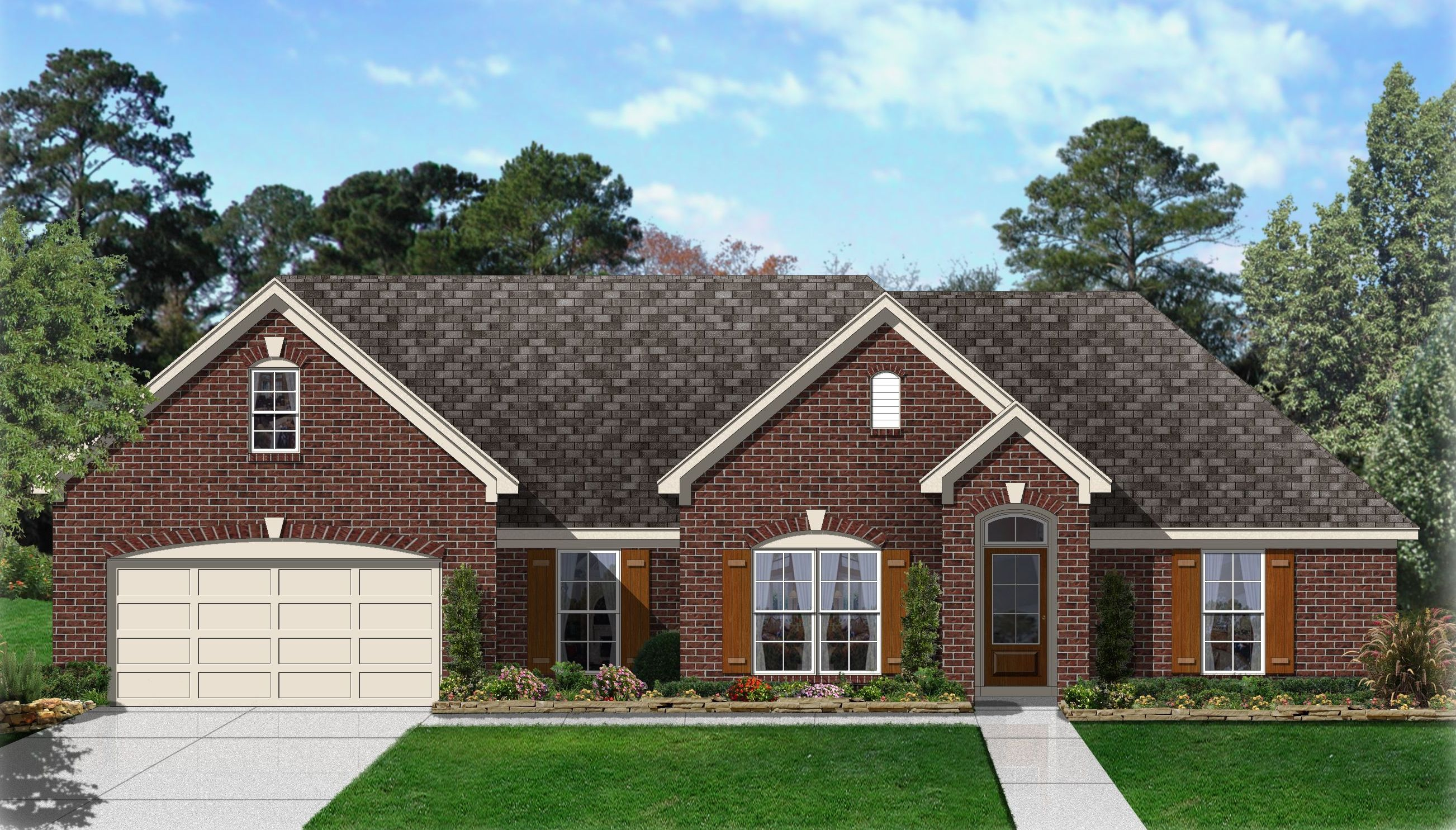 Brick ranch house plan 68011hr 1st floor master suite for Brick garage plans