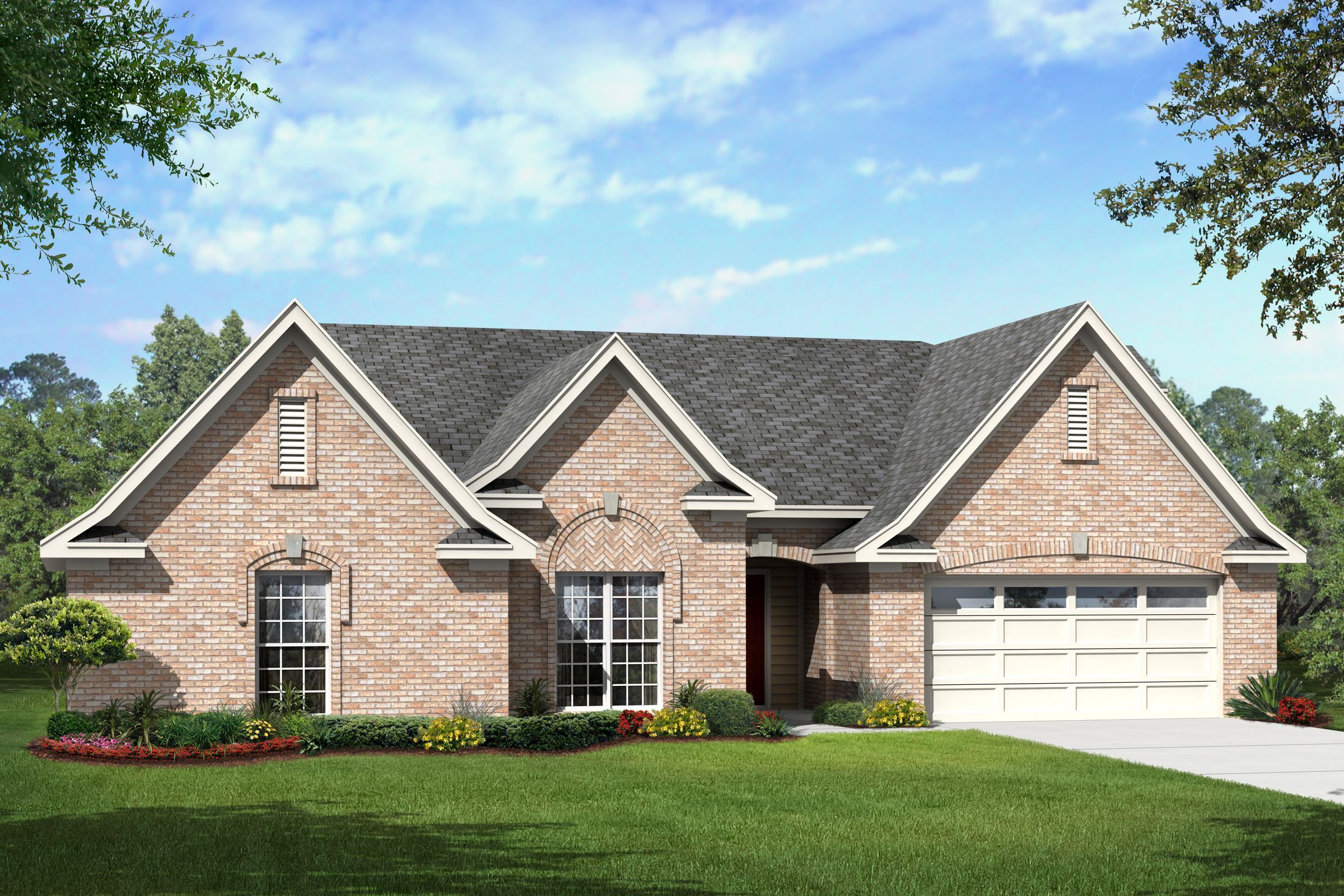 Elegant brick ranch home plan 68020hr 1st floor master for Brick farmhouse plans