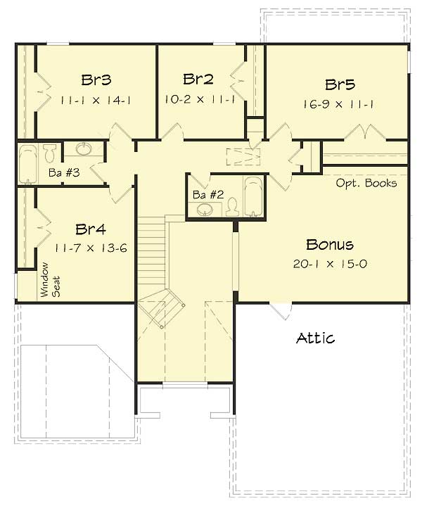 Five bedrooms plus a bonus room 68035hr architectural for House plans with bonus room